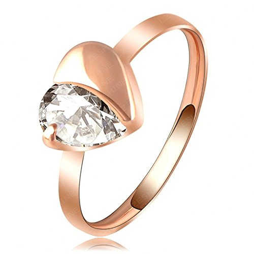 Daesar Rose Gold Plated Rings Womens Sweet Heart Cubic Zirconia Rings Promise Rings Size 9
