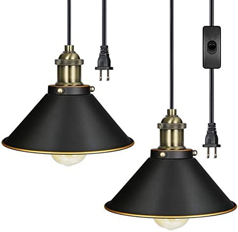 DEWENWILS Pendant ORB Plug in Hanging Light, Indoor Ceiling Light for Kitchen Living Room, Bedroom, Dinning Hall, 15FT Adjustable Cord with On Off Switch,Pack of 2