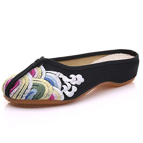 Low Black Wave Heel Household Womens Canvas Print Chinese Style Sandals Qhome Slippers wqZTX6gn