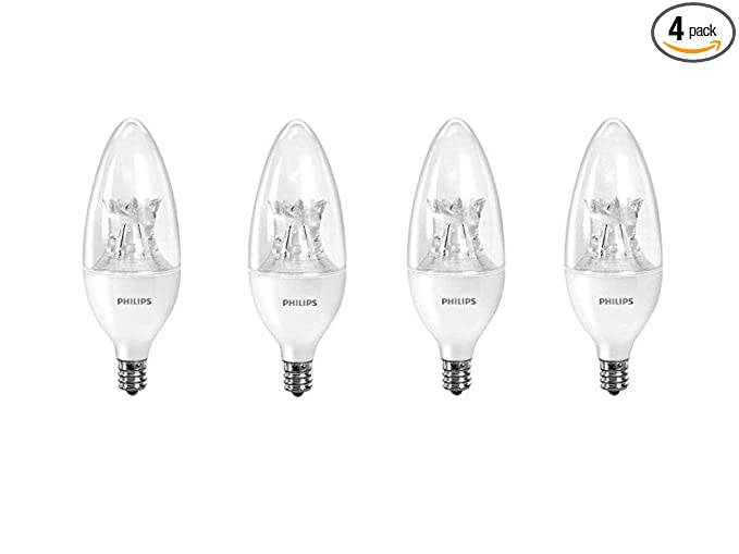 Philips 458687 Led B12 Dimmable Candle Light Bulb With Warm Glow