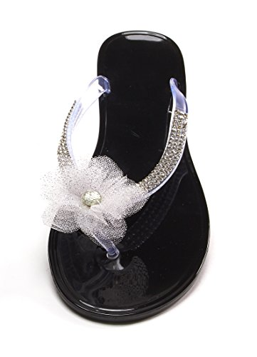 Sorbet Rhinestone Flip Flop with Flower (Blackberry, Small - 6/7) (Blackberry Sorbet compare prices)
