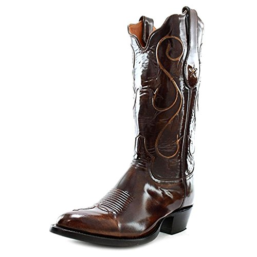 Tony Lama Men's Signature Series Brushed Goat Cowboy Boot Round Toe Brown 9 D(M) US (Goat Cowboy Boots)