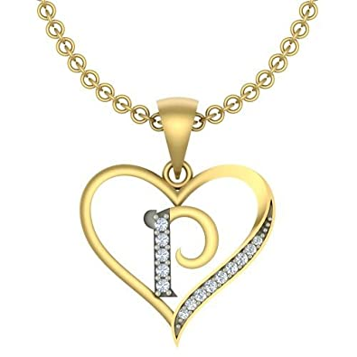 Kanak Jewels Initial Letter QuotPquot In Heart Shaped With Chain Gold Plated Cubic