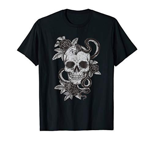 Vintage Skull Snake Rose Art Shirt Old School