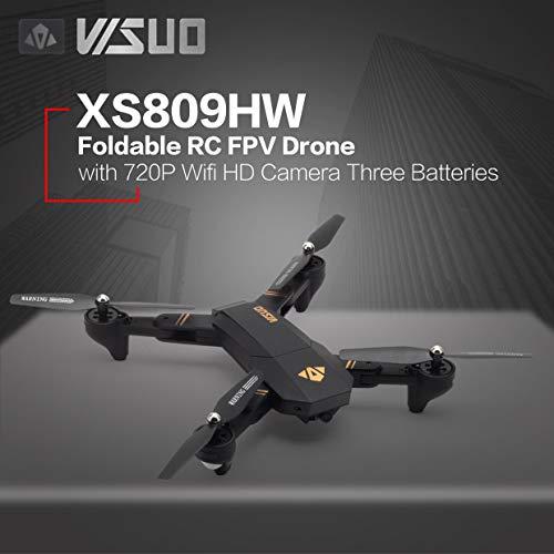 Ququack VISUO XS809HW Foldable 720P広角カメラFPV RCドローン3つのバッテリー