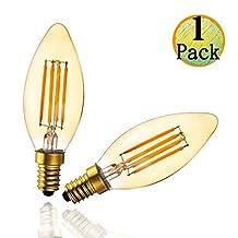 HL LED Dimmable Edison bulb, Vintage Edison Filament Style LED Light Bulb, Glass Cover Amber B10 4W(45w Equivalent) 2200K Warm White 270Lm, E12 Medium Base UL Listed, 1pack