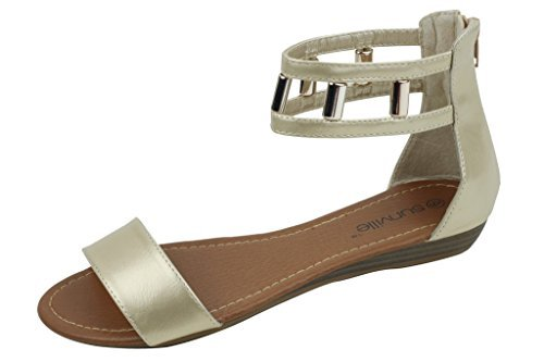 Shoes 18 Womens Roman Gladiator Sandals Flats Thongs 2 Buckle Shoes 4 colors (7, 181022 Gold) (Shoes Roman Sandals)