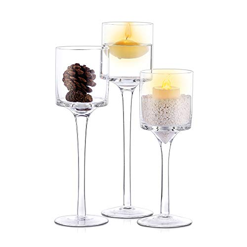 Nuptio Set of 3 Candlestick & Tealight Candle Holders | Tall Elegant Glass Stylish Design | Ideal for Weddings, Home Decor, Parties, Table Settings & Gifts