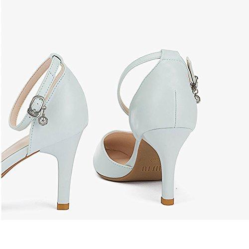 Travail Mot 8cm 37 Hauts De 5 EU UK Mode Bouton Noir 4 Chaussures Mariage De Sexy Cour Femme Chaussures Talons Blue 4nAxqw1