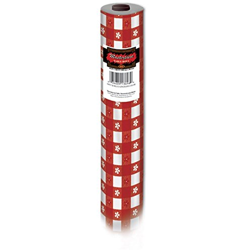 100' Red and White Gingham Disposable Plastic Banquet Party Table Roll - Gingham Plastic Banquet Roll