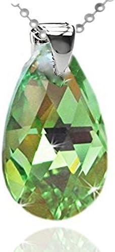 Halskette Schlangenkette Sterling Silber 925 Anhänger, echtes Swarovski Element in Tropfenform, Grün, Kette 46 cm