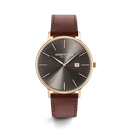Kenneth Cole New York Men's 'Classic' Quartz Stainless Steel and Leather Dress Watch, Color:Brown (Model: KC15059008)