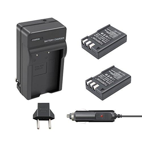 En El9 Replacement (Nikon EN-EL9a Battery Charger TURPOW 2 Pack EN-EL9 / EN-EL9a 2000mAh Li-ion Replacement Battery and Charger for Nikon D40 D40x D60 D3000 D5000 Cameras with Car Charger)