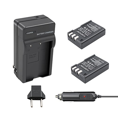 Nikon EN-EL9a Battery Charger TURPOW 2 Pack EN-EL9 / EN-EL9a 2000mAh Li-ion Replacement Battery and Charger for Nikon D40 D40x D60 D3000 D5000 Cameras with Car Charger