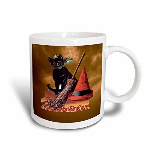 (3dRose 6190_2 Vintage Halloween Black Cat Mug, 15 oz,)