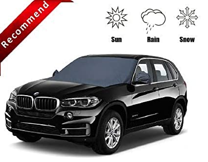 Unistore-[All New 2019 Edition]2.1m*1.1m secure tight wind-resistant magnetic windshield&side mirror cover.perfect vehicle protection from rain, UV rays, snow, Frost, falling leaves and bird excrement. FREE storing pouch included