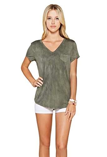 Pattern Tie Dye T-shirt (Trend Director Women's Short Sleeve Pocket V-Neck Tie Dye T-Shirt (Medium, Olive))