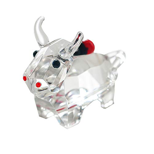 H&D Crystal Animal Figurine Bull with Ladybugs on back Collection Table Centerpiece Ornament