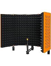 MSIZOY 5-panelen, oranje, opvouwbare studioopnamemicrofoon, isolatieplaat, hoge dichtheid, geluidsabsorberend schuimschild voor zang-/akoestische opnames, podcast zingen gaming YouTube