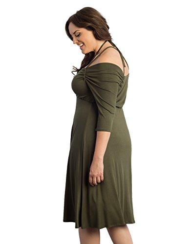Kiyonna Women's Plus Size Enticing Tie Dress 1X Olive You