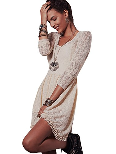 beige lace summer dress - 7