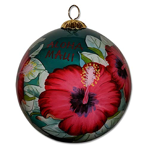 Design Hand Painted Collectible - Collectible Maui Christmas Ornament Red Hibiscus Hand Painted from Inside The Glass Gift Box