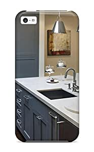GZMyuLT2544JeTBg Transitional Kitchen With Gray Cabinetry And Shiny Pendant Lights Fashion Tpu 5c Case Cover For Iphone