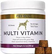 Petscy: Multi-Vitamin Chews - One-a-Day Dog Treats with Vitamin C, Vitamin E, Omega 3, Zinc and More - 30 Chew