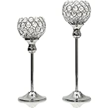 VINCIGANT Sparklers Wedding Candelabra,Silver Crystal Modern Floor Vases/Candle Holders for Mothers Day Dining Room Coffee Table Decorative Centerpiece,Set of 2