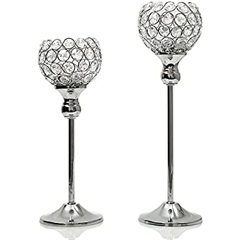 VINCIGANT Sparklers Thanksgiving Wedding Candelabra,Silver Crystal Floor Vases/Candle Holders for Dining Room Coffee Table Decorative Centerpiece,Set of 2