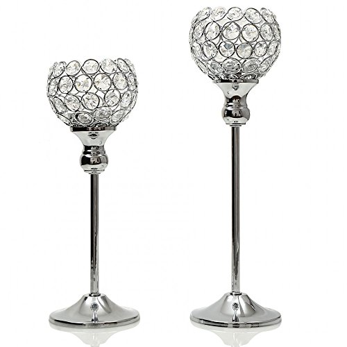 VINCIGANT Sparklers Christmas Wedding Candelabra,Silver Crystal Modern Floor Vases/Candle Holders for Dining Room Coffee Table Decorative Centerpiece,Set of 2 Gold Hurricane Lamp