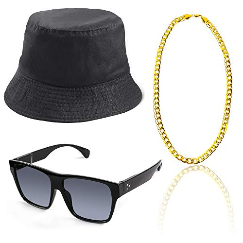 Beelittle 80s/90s Hip Hop Costume Kit Old Style Cool Rapper Outfits - Bucket Hat Oversized Black Sunglasses Gold Plated Chain (B)