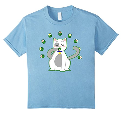 Kids Funny Sushi Roll Loving Cat Eating Sushi Shirt 4 Baby Blue