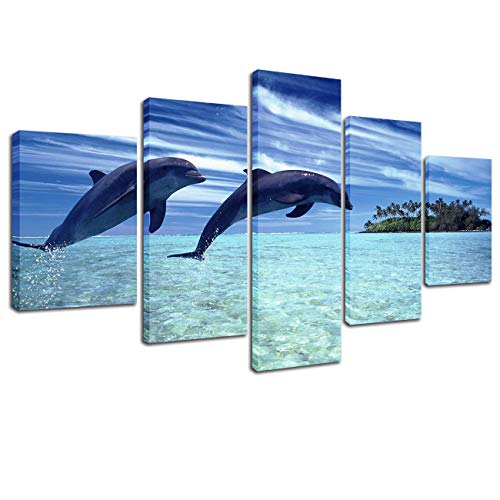 Lingula Art 5 Pieces Wall Art Painting Seascape Sea Dolphins Blue Sky Island Prints On Canvas Animals Poster Modern Decoration Wall Pictures for Living Room (30x40cmx2pcs 30x60cmx2pcs 30x80cmx1pcs)