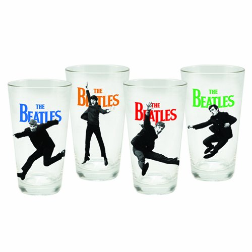 Vandor 54162 The Beatles 4 pc 16 oz Glass Set, (Beatles Glasses)