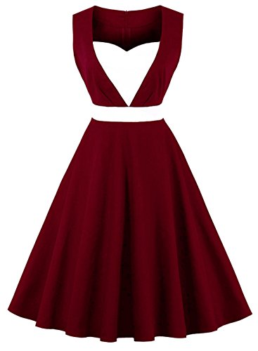 Heart Sleeveless (Ayli Women's Sweetheart Sleeveless Wine Red 50s Retro Swing Midi Dress, US-12/Tag-L/02w124)