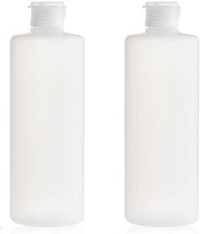 2PCS Recarga Vacía de Plástico Transparente Tubo Suave Apriete Tarros de Botellas con Tapa Giratoria Cosméticos Envases de Maquillaje para Loción Toner Gel de Ducha Champú (400ml/14oz)