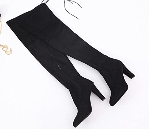 Women High High Stretch Boots Red Knee High Slim 6 Shoes UK Heels Black Boots Faux YEqwdwB