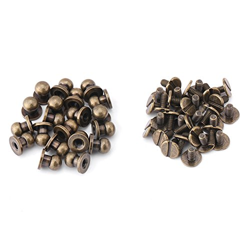 20Pcs Round Head Solid Bronze Nail Rivet Button Bronze Stud Screw Nail Screwback Cap Rivets Belt Strap Bag Screws DIY Leather Accessories (Round Covered Buckle Belt)