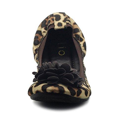 Ollio Kvinna Skor Faux Mocka Dekorativ Blomma Halka På Komfort Ljus Balett Platt Leopard