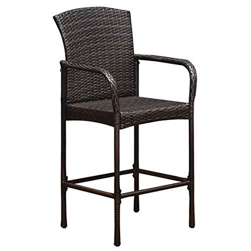 ReunionG Wicker Bar Stool, Outdoor Backyard Patio Furniture Rattan Chair with Armrest Set of 2 B ...