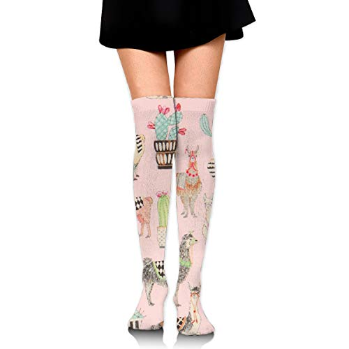 YINLAN Women Over Knee Thigh High Socks, Fashion Long Boot Stockings Leg Warmer, for Medical/Nursing/Hiking/Travel/Flight/Running, Llama Cactus Desert Pattern Girls Leggings
