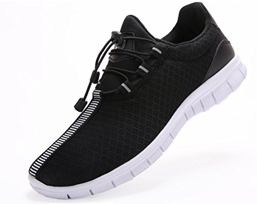 Juan Men's Running Shoes Fashion Breathable Sneakers Mesh Soft Sole Casual Athletic Lightweight (10US/44EU,MEN, Black)