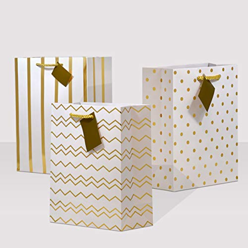 7.5x3.5x9 12 Pcs. Medium Metallic Gold Paper Gift Bags with Handles, Birthday Party Favor Bags, Chevron Polka Dot Chevron Polka Dot Stripe Patterns