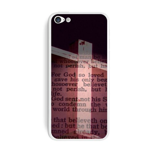 Graphics and More Cross and Bible Verse John 3-16 for God So Loved the World Protective Skin Sticker Case for Apple iPhone 5C - Set of 2 - Non-Retail Packaging - Opaque