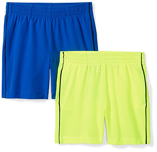 - Spotted Zebra Little Boys' 2-Pack Active Woven Shorts, Blue/Yellow, Small (6-7)