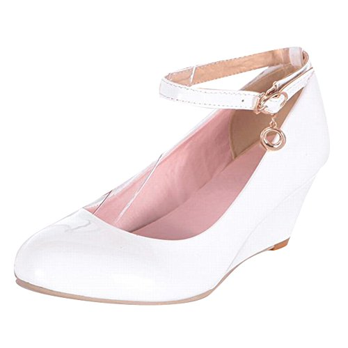 Carol Shoes Women's Fashion Candy Color Mid Heel Wedge Buckle Court Shoes White uclmF