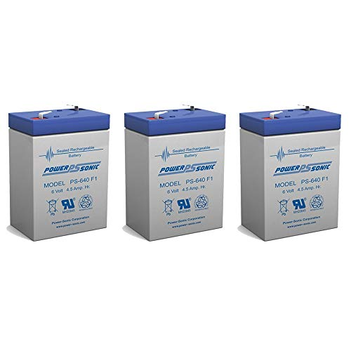PS-640 6 Volt 4.5 AmpH SLA Replacement Battery with F1 Terminal - 3 Pack
