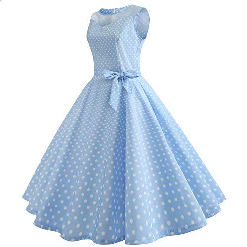 Mujer la Puntada Blue Malla de Vestido de de de Temperamento Elegante Nueva de Vendimia Punto Wavelet Isbxn waPZqXU