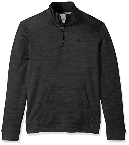 Champion Fleece Pullover - Champion Men's Premium Performance Fleece Quarter-Zip Pullover, Forest Grove Heather/Black, Large
